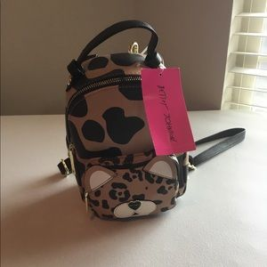 Betsey Johnson miniature leopard print backpack